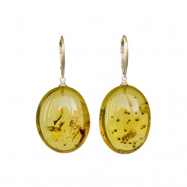 Green color copal bean earrings #05