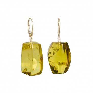Green color copal earrings fragments #02