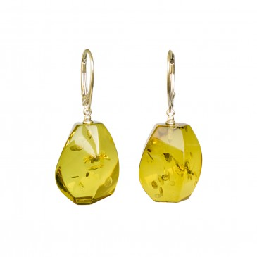 Green color copal earrings fragments #03