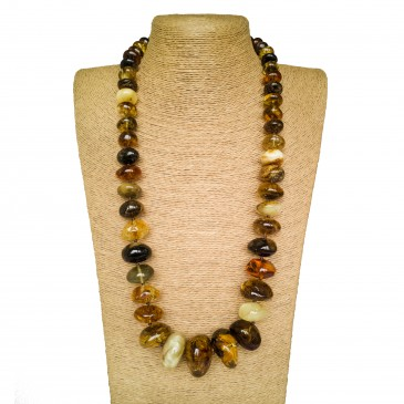 Green x matt amber nuggets necklace #02