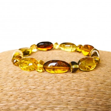 Green Copal composition bracelet #01