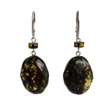 L dark green faceted olives x tablet earrings