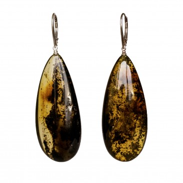 L natural amber dark drops earrings #03