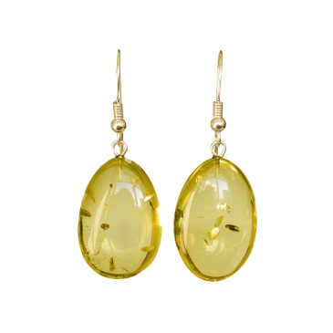Lemon color copal bean earrings #02
