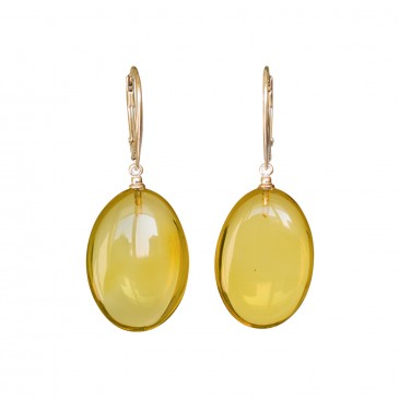 Lemon color copal bean earrings #03