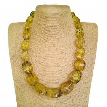 Light cognac color fragmented copal necklace #01