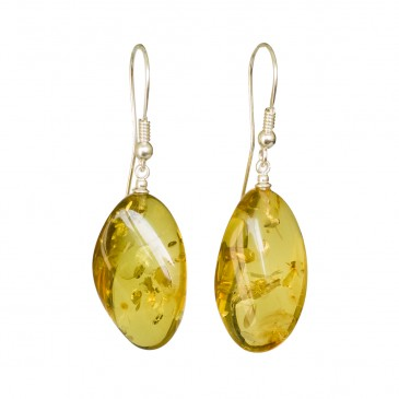 Light lemon copal twisted earrings #04
