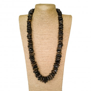 Massive natural amber black amber chips necklace