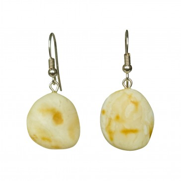 Matt color free form amber earrings #01