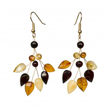 Mix color natural amber ivy earrings #01