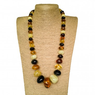 Multicolor amber nuggets necklace