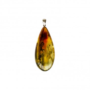 Natural amber cognac color drop pendant #08