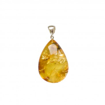 Natural amber lemon color drop pendant #01