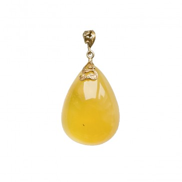 Natural amber matt color drop pendant #04