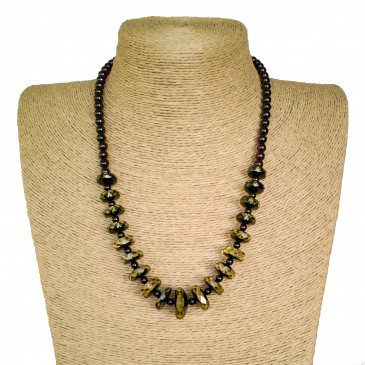 Natural green amber faceted beads necklace