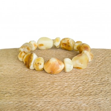 Natural white amber large nuggets bracelet