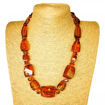 L twisted cognac x round beads necklace
