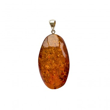 Oval shape cognac color amber pendant #01