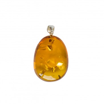 Oval shape cognac color amber pendant #06