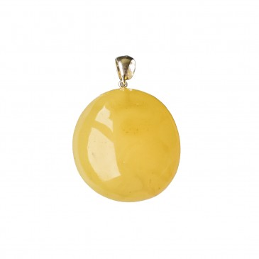 Oval shape matt color amber pendant #01