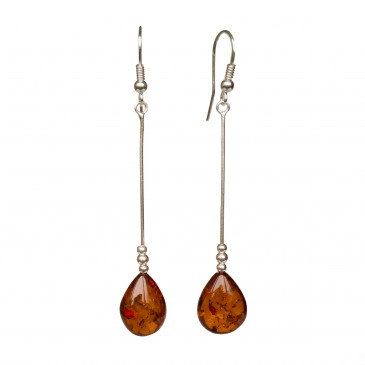 SY cognac color amber drops earrings #01
