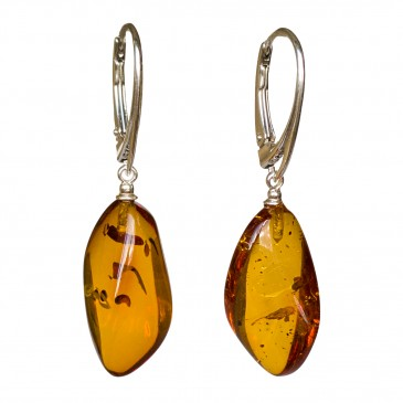 Twisted cognac amber earrings #05