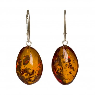 Twisted cognac amber earrings #06