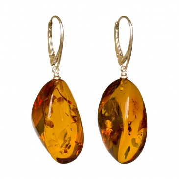 Twisted cognac amber earrings #07