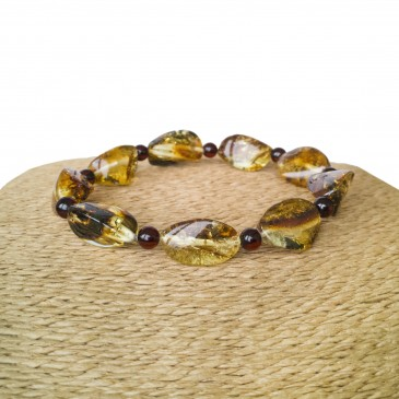 Twisted green amber bracelet