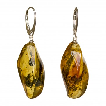Twisted green amber earrings #02