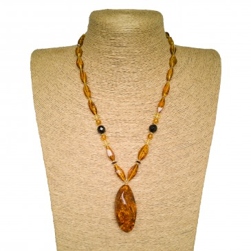 Twisted shape cognac color natural amber pendant necklace #03