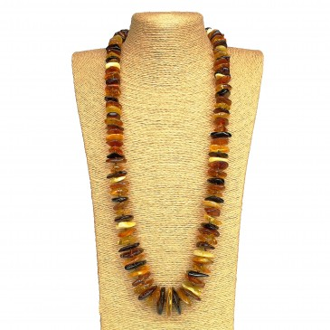 XL multicolor amber chips necklace