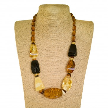 XL mix natural amber fragments necklace #01