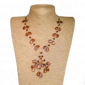 Y cognac free form leafs wire necklace