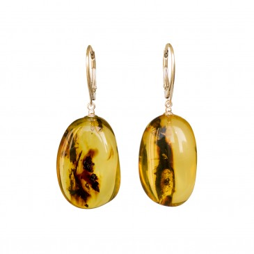 Cognac color copal earrings in natural shape #05