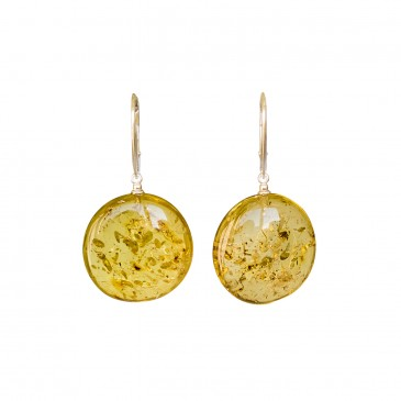 Flat round copal earrings in cognac color #03