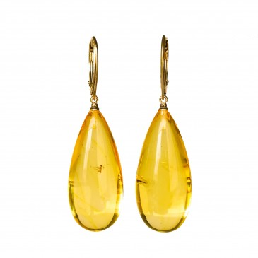 Natural amber earrings with inclussions #06