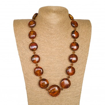 L round cognac x round beads long necklace