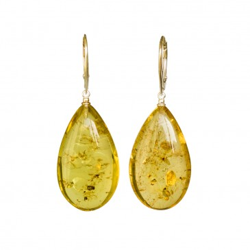 Lemon color copal earrings drops #03