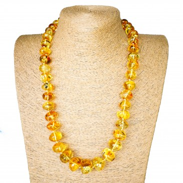 Natural amber bright clear lemon color nuggets necklace