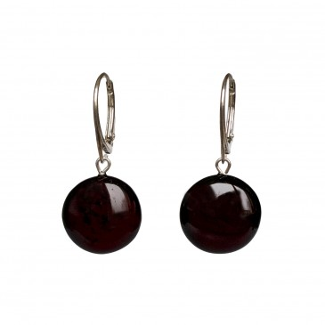 Natural amber round cherry earrings #02