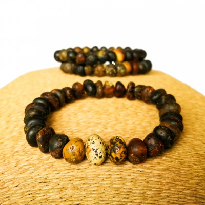 3 Dark frozen raw amber bracelets