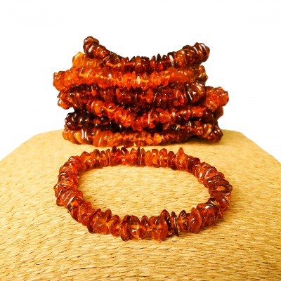 10 pcs of natural amber cognac color chips bracelets