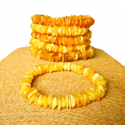 6 pcs of natural color genuine amber chips bracelets