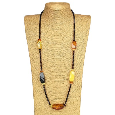 7 mix fragments long necklace