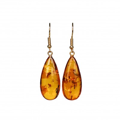 S natural amber cognac drops earrings #04