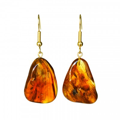 L free form cognac earrings #01