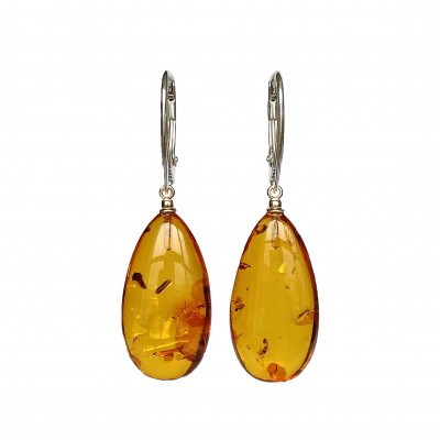 S natural amber cognac drops earrings #05
