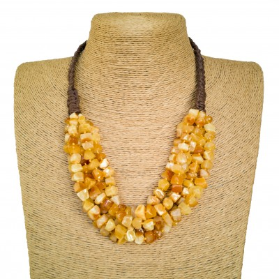 3 strings of matt color natural amber faceted squares necklace