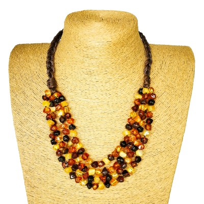 4 strings of multicolor natural amber faceted squares necklace